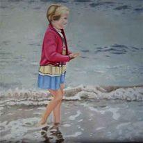 Meer, Mädchen, Welle, Figural