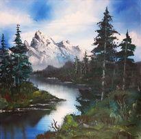 Baum, Wolken, Landschaft, Fluss