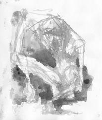Düster, Wesen, Schwarz weiß, Aquarellmalerei