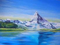 Landschaft, Berge, Matterhorn, Malerei