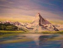 Malerei, Materhorn, Landschaft, See