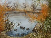 Herbst, Wald, See, Ente