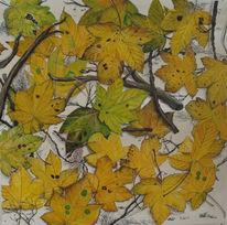 Luzern, Gold, Acrylmalerei, Blätter