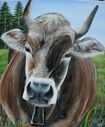 Braun, Wiese, Tiermalerei, Horn