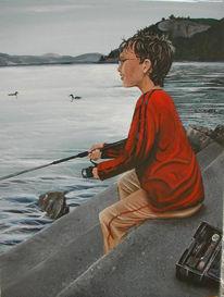 Wasser, Fischen, Malerei, See