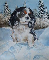 Aquarellmalerei, Schnee, Luzern, Tanne