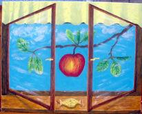 Apfel, Baum, Äste, Fenster
