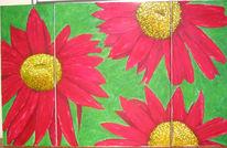 Chrysantheme, Rot, Blumen, Tryptichon