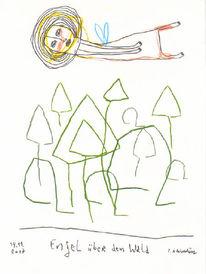 Akkordeon, Engel, Wald, Zeichnung
