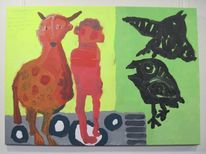 Akkordeon, Pferde, Menschen, Acrylmalerei