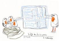 Zwitschern, Petrus, Akkordeon, Zeichnung