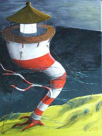 Meer, Malerei, Leuchtturm, Surreal