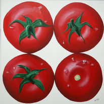 Malerei, Tomate, Stillleben