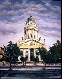 Temperamalerei, Stadtarchitektur, Leben, Kuppel