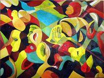 Öl a, Pg 1 maskenball, Leinenkarton, Surrealistisch