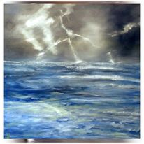 Ölmalerei, Blitz, Meer, Nordsee