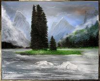 Wasser, Berge, Alaska, Tanne
