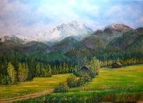 Wiesengrund, Hütte, Alpen, Malerei