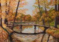 Brücke, Branitzer, Park, Spiegelung