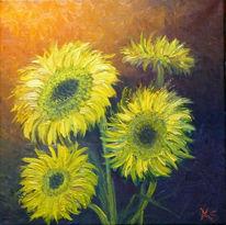 Vier sonnenblumen, Malerei, Sonnenblumen,
