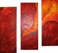 Abstrakt, Malerei, Rot, Mischtechnik