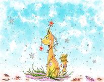 Illustration, Weihnachtsbaum, Katze, Selbstportrait