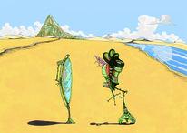 Surreal, Wüste, Spiegel, Cyberpunk