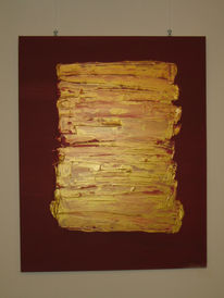 Malerei, Rot, Gold, Abstrakt