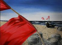 Strand, Fischernetze, Windig, Malerei
