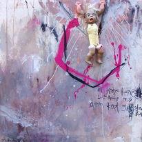 Assemblage, Puppe, Abstrakt, Malerei