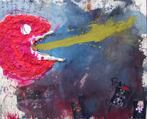 Assemblage, Abstrakt, Kopf, Malerei