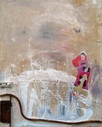 Malerei, Abstrakt, Assemblage, Mischtechnik