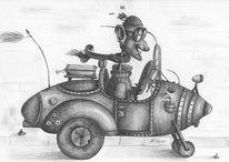 Urlaub, Auto, Zeichnungen, Surreal