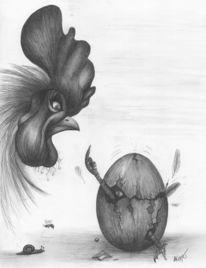 Zeichnung, Surreal, Bleistiftzeichnung, Hahn