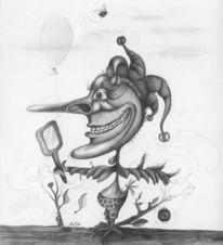 Bleistiftzeichnung, Vogel, Zeichnung, Surreal