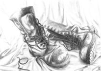 Stiefel, Stillleben, Vergänglichkeit, Zeichnung