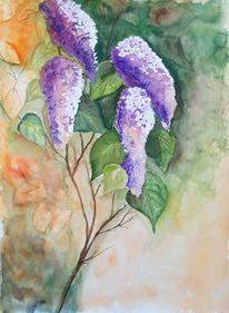 Flieder, Blumen, Aquarellmalerei, Malerei