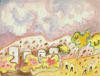 Holocaust, Bergdorf, Landschaft, Aquarellmalerei