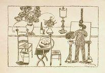 1949, Interieur, Malerei, Lithografie