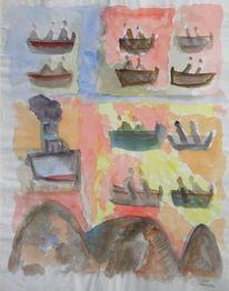 Wassersport, Malerei, Mutter ey, Boot