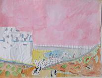 Malerei, Spanien, Strand, Mediterrane landschaft