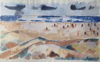 Malkasten malerei, Strandidylle, Nordsee, Landschaft