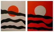 Malerei, Abstrakt, Sonne, Mond