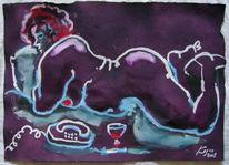 Wein, Akt, Aquarellmalerei, Grafik
