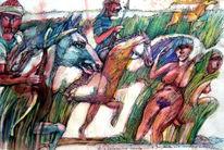 Akt, Sage, Magor, Aquarellmalerei