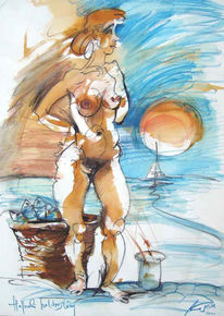 Ungarisch, Ungarn, Fischverkäuferin, Illustration