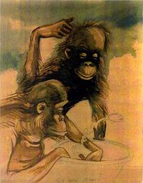 Affe, Aquarellmalerei, Teirzeichnung, Aquarell