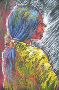 Pastellmalerei, Ungarisch, Portrait, Mädchen