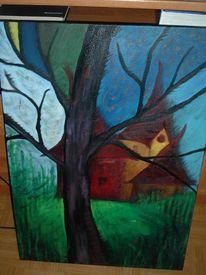 Abstrakt, Malerei, Haus, Baum
