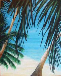 Palmen, Strand, Meer, Karibik